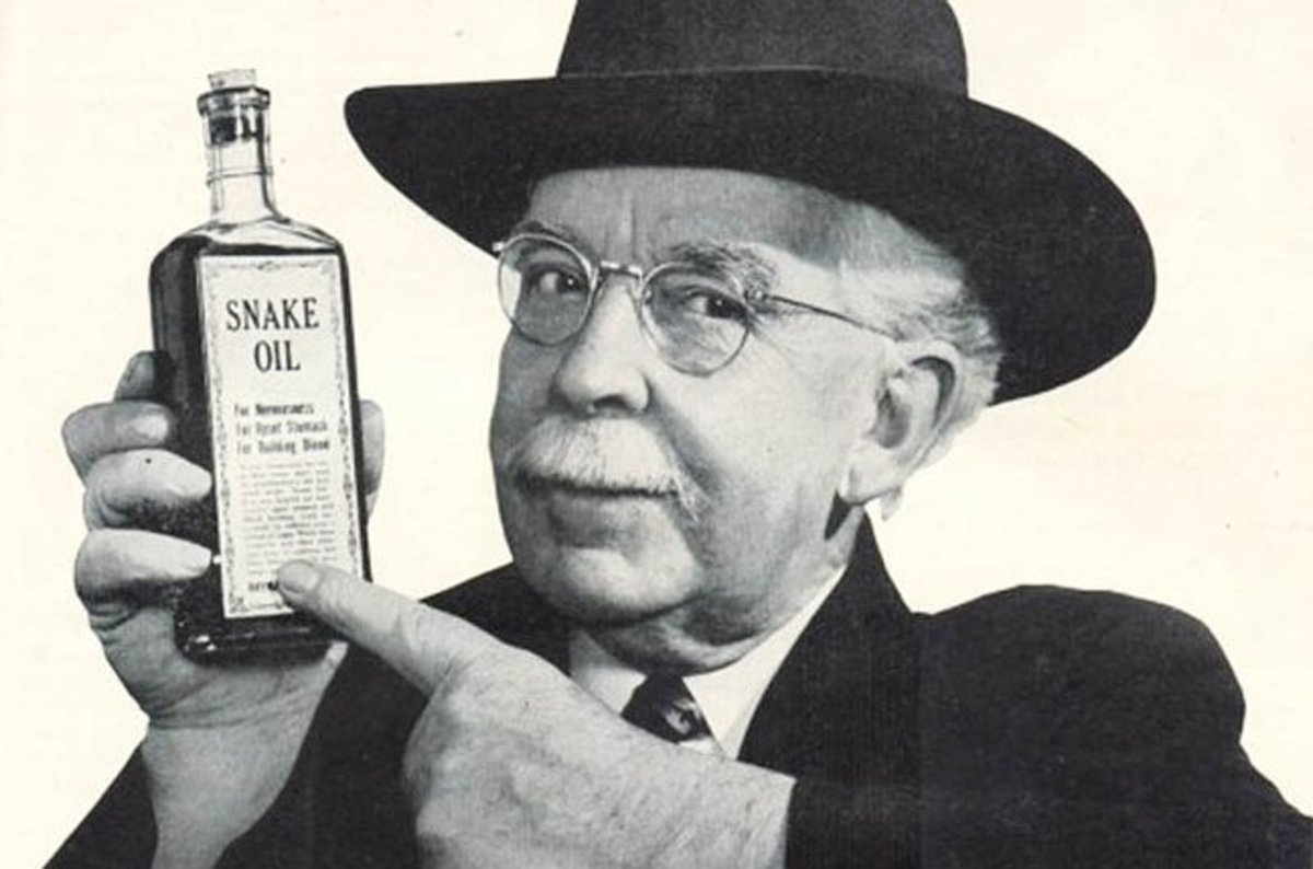 Don't hire an SEO! image depicts old-time snake oil salesman